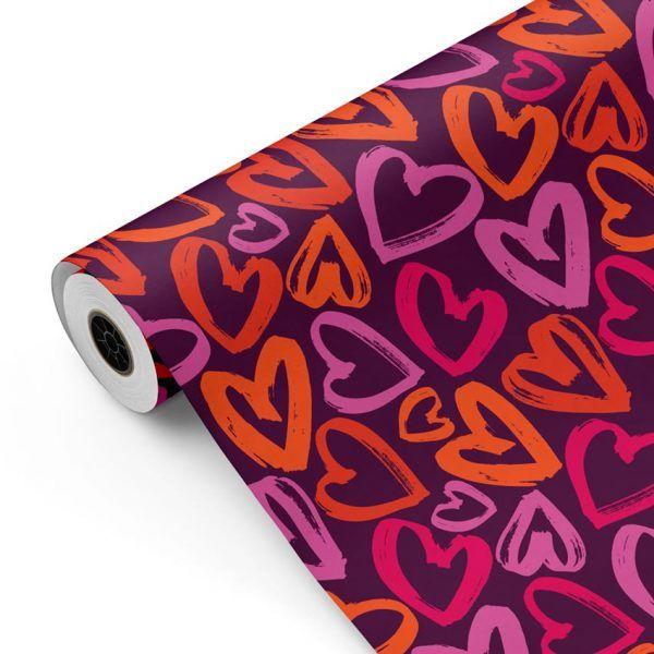 Bobina Papel de regalo CLASSIC • Corazones • Morado Blanco Naranja:Rojo:Magenta:Rosa • 62cm y 31cm x 100m