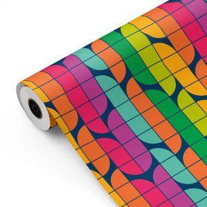 Bobina Papel de regalo RETRO-iris • Clásico • Multicolor • 62cm y 31cm x 100m-mkp