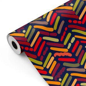 Bobina Papel de regalo TRAZOS ÉTNICOS • Trendy • Multicolor, Azul oscuro • 62cm y 31cm x 100m-mkp
