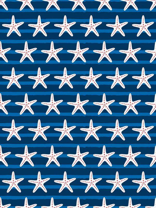 Bobina Papel de regalo ESTRELLAS de MAR • Trendy • Azul, blanco, Rojo, Azul oscuro • 62cm y 31cm x 100m