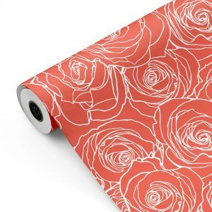 Bobina Papel de regalo CLASSIC • Rosas • Salmón Naranja Blanco • 62cm y 31cm x 100m-mkp