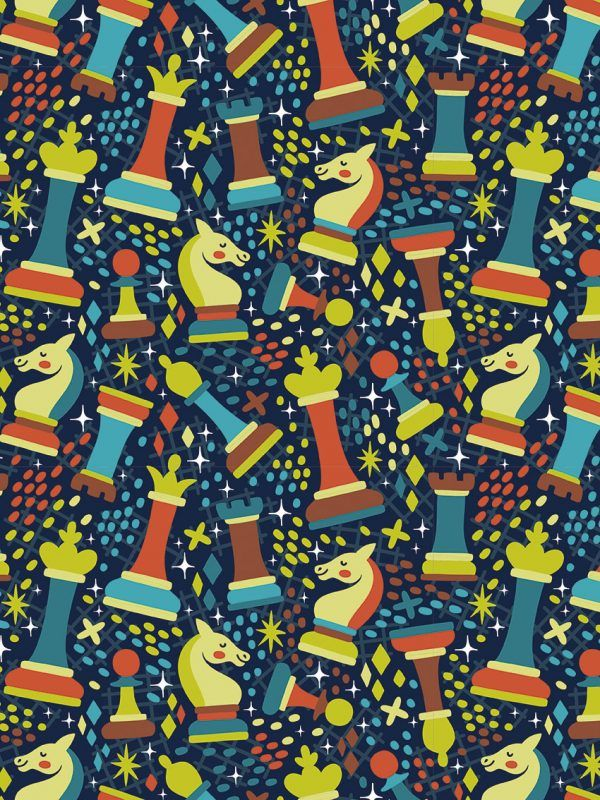 Bobina Papel de regalo Ajedrez • Clásico • Multicolor • 62cm y 31cm x 100m
