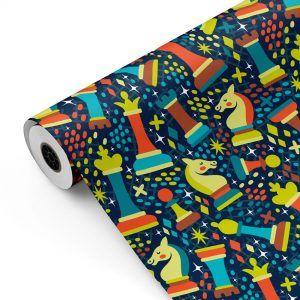 Bobina Papel de regalo Ajedrez • Clásico • Multicolor • 62cm y 31cm x 100m-mkp