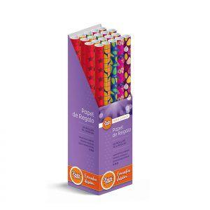 20 Rollos de papel de regalo CLÁSICO • 70cm x 600cm • Incluye Expositor
