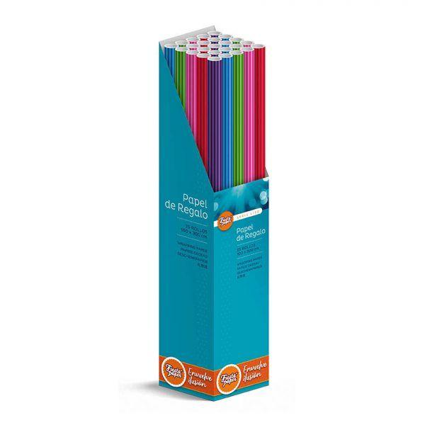 25 Rollos de papel de regalo RAYAS • 100cm x 300cm • Incluye Expositor