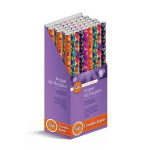 50 Rollos de papel de regalo CLÁSICO C1 • 70cm x 200cm • Incluye Expositor