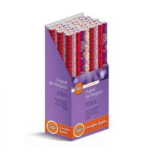 50 Rollos de papel de regalo CLÁSICO C2 • 70cm x 200cm • Incluye Expositor