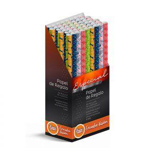 50 Rollos de papel de regalo Clásico REFORZADO • 70cm x 200cm • Incluye Expositor