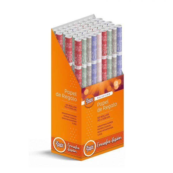 50 Rollos de papel de regalo INSPIRACIÓN • 70cm x 200cm • Incluye Expositor