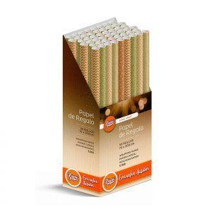 50 Rollos de papel de regalo KRAFT Clásico • 70cm x 200cm • Incluye Expositor