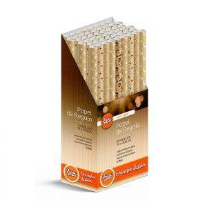 50 Rollos de papel de regalo KRAFT Navidad • 70cm x 200cm • Incluye Expositor