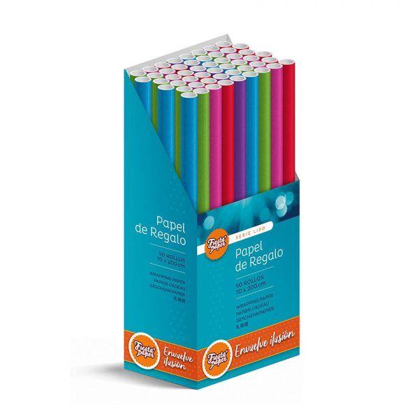 50 Rollos de papel de regalo LISO • 70cm x 200cm • Incluye Expositor