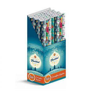 50 Rollos de papel de regalo NAVIDAD • 70cm x 200cm • Incluye Expositor