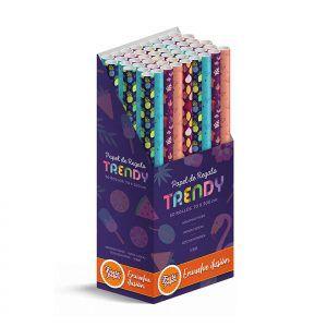 50 Rollos de papel de regalo TRENDY • 70cm x 200cm • Incluye Expositor
