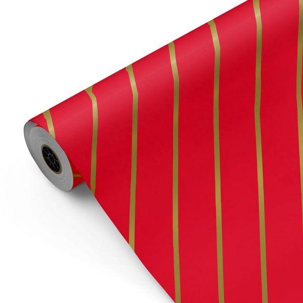 Bobina Papel de regalo CLASSIC • 20200415 Rayas Rojo Oro • 62cm y 31cm x 100m-mkp