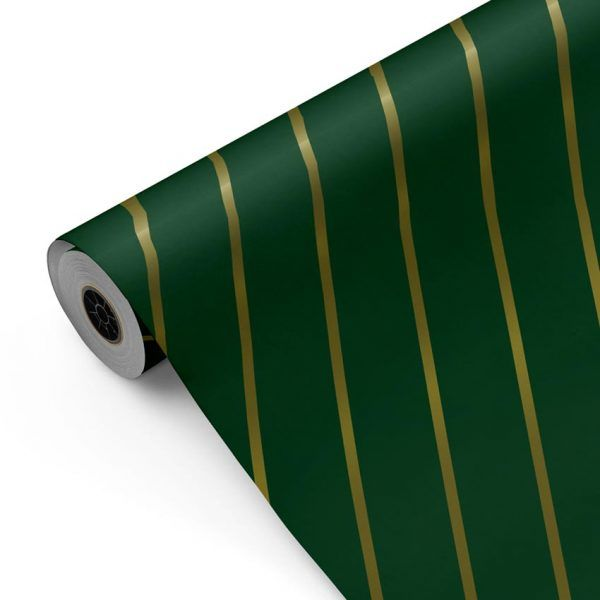 Bobina Papel de regalo CLASSIC • Rayas Verde Oro