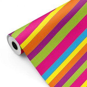 Bobina Papel de regalo Bancas (rayas) colores • Clásico • Multicolor • 62cm y 31cm x 100m-mkp
