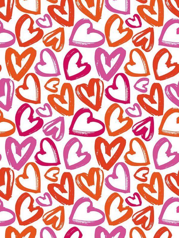 Bobina Papel de regalo CLASSIC • Corazones • Naranja:Rojo:Magenta:Rosa • 62cm y 31cm x 100m