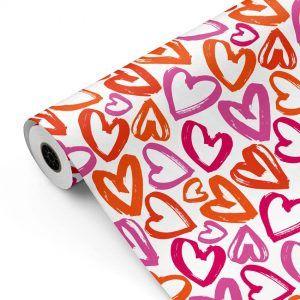 Bobina Papel de regalo CLASSIC • Corazones • Naranja:Rojo:Magenta:Rosa • 62cm y 31cm x 100m-mckp