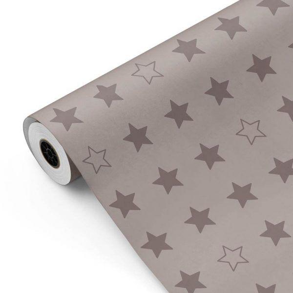 Bobina Papel de regalo CLASSIC • Estrellas • Gris 407 • 62cm y 31cm x 100m-mkp