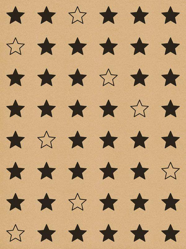 Bobina de papel KRAFT para envolver regalos • ESTRELLAS negras • serie Clásico, 62cm x 100m