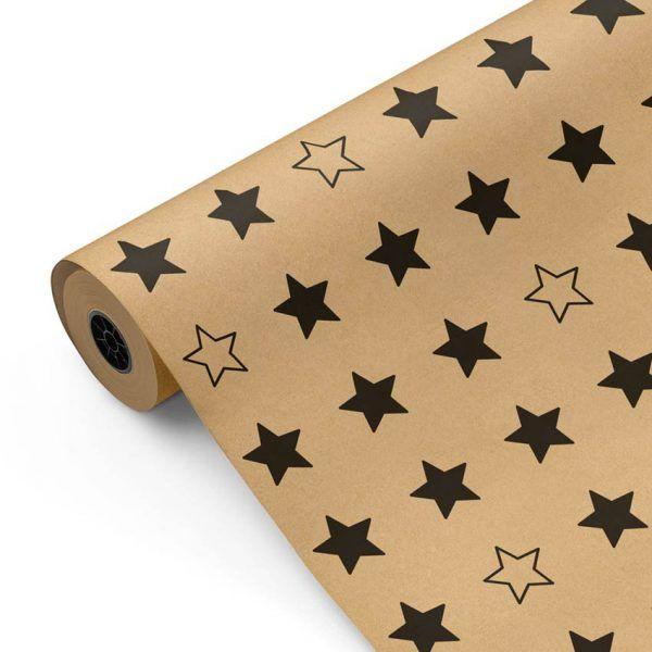 Bobina de papel KRAFT para envolver regalos CLASSIC • Estrellas negras • 62cm x 100m-mkp