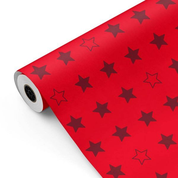 Bobina Papel de regalo CLASSIC • Estrellas • Rojo P185 • 62cm y 31cm x 100m-mkp