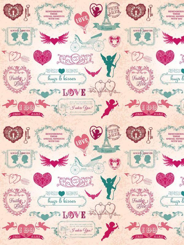 Bobina Papel de regalo CLASSIC • Love • Fucsia:Verde • 62cm y 31cm x 100m