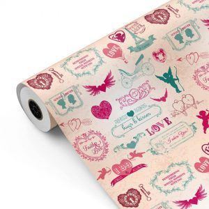 Bobina Papel de regalo CLASSIC • Love • Fucsia:Verde • 62cm y 31cm x 100m-mkp
