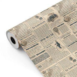 Bobina Papel de regalo CLASSIC • Periódico • Beige:Azul oscuro • 62cm y 31cm x 100m-mkp