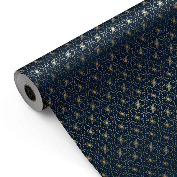 Bobina Papel de regalo CLASSIC • Polin • Oro:Azul oscuro • 62cm y 31cm x 100m-mkp