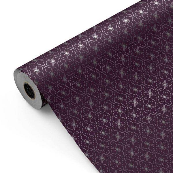 Bobina Papel de regalo CLASSIC • Polin • Plata:Berenjena • 62cm y 31cm x 100m-mkp