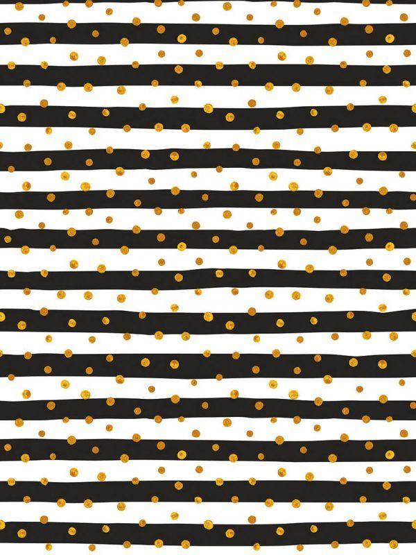 Bobina Papel de regalo CLASSIC • Rayas (bandas) y puntos • Blanco:Negro:Oro • 62cm y 31cm x 100m