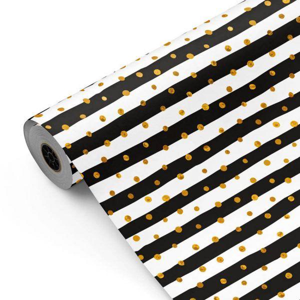 Bobina Papel de regalo CLASSIC • Rayas (bandas) puntos • Blanco:Negro:Oro • 62cm y 31cm x 100m-mkp