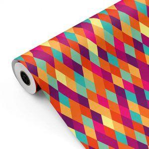 Bobina Papel de regalo ROMBOS-iris • Clásico • Multicolor • 62cm y 31cm x 100m-mkp