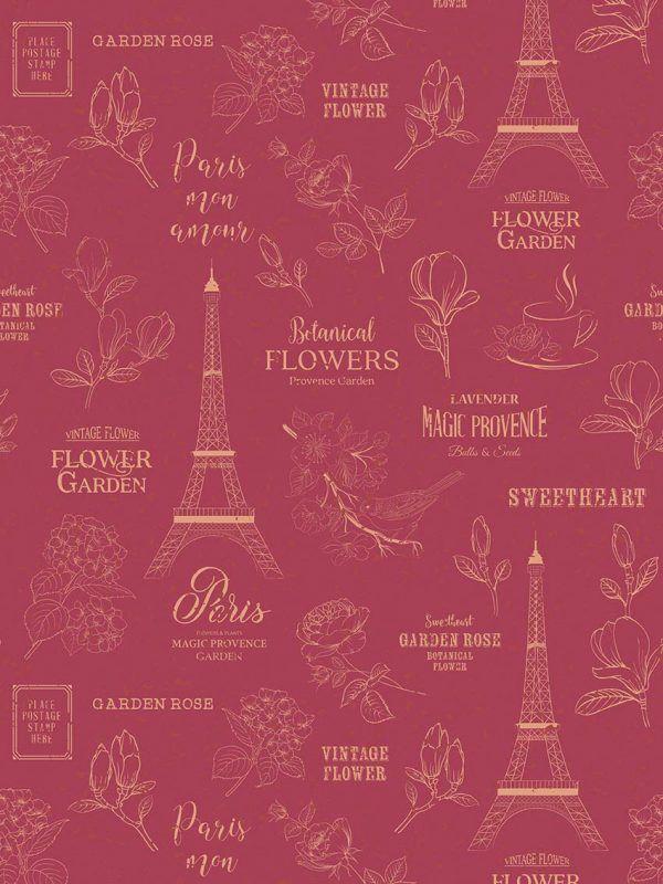 Bobina Papel de regalo CLASSIC • Torre Eiffel v1 • Rojo Burdeos:Beige • 62cm y 31cm x 100m