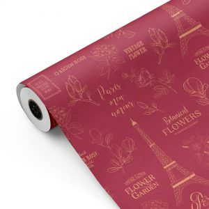 Bobina Papel de regalo CLASSIC • Torre Eiffel v1 • Rojo Burdeos:Beige • 62cm y 31cm x 100m-mkp