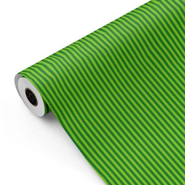 Bobina Papel de regalo INFINITY • Rayas • Verde 1 • 62cm y 31cm x 100m-mkp