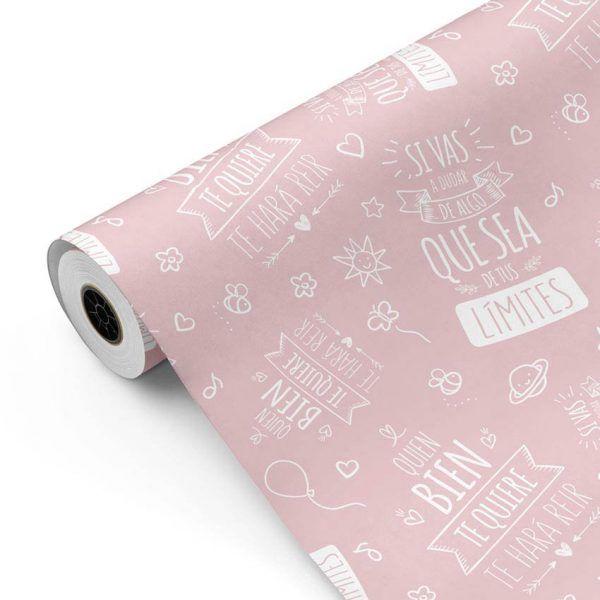 Bobina Papel de regalo INSPIRATION • Inspiración • Rosa 691 • 62cm y 31cm x 100m-mkp