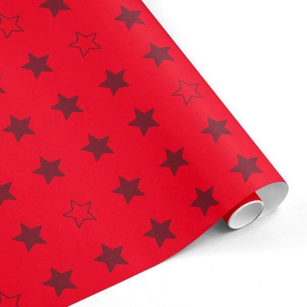 Rollo Papel de regalo CLÁSICO • Estrellas • Rojo-Burdeos–mkp
