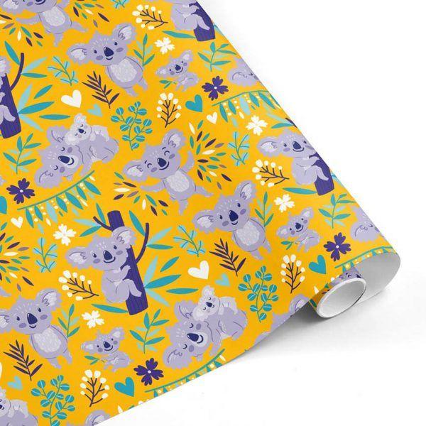 Rollo Papel de regalo INFANTIL • Koala • Amarillo-Violeta-Morado-Azul cián–mkp