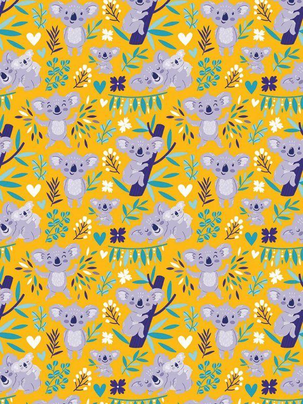 Rollo Papel de regalo INFANTIL • Koala • Amarillo-Violeta-Morado-Azul cián
