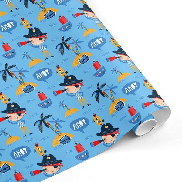 Rollo Papel de regalo INFANTIL • Piratas • Azul celeste-Multicolor–mkp
