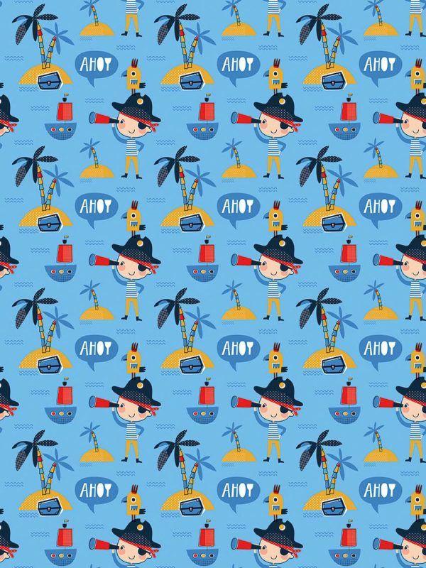 Rollo Papel de regalo INFANTIL • Piratas • Azul celeste-Multicolor
