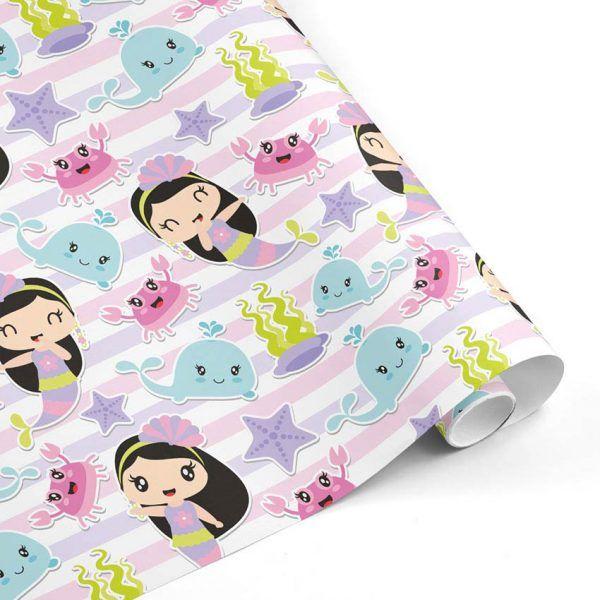 Rollo Papel de regalo INFANTIL • Sirenita • Multicolor-Tonos pastel–mkp