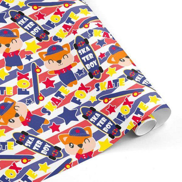 Rollo Papel de regalo INFANTIL • Zorrillo Skater • Azul-Rojo-Amarillo-Naranja–mkp