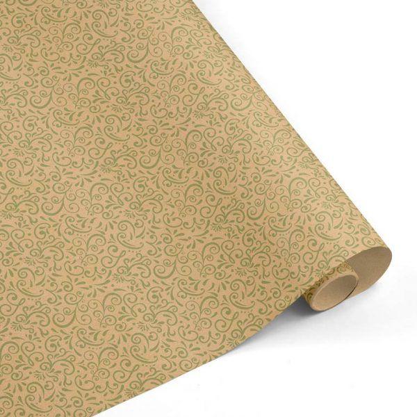 Rollo Papel de regalo KRAFT Clásico • Cenefa • Verde Claro-Marrón ocre–mkp
