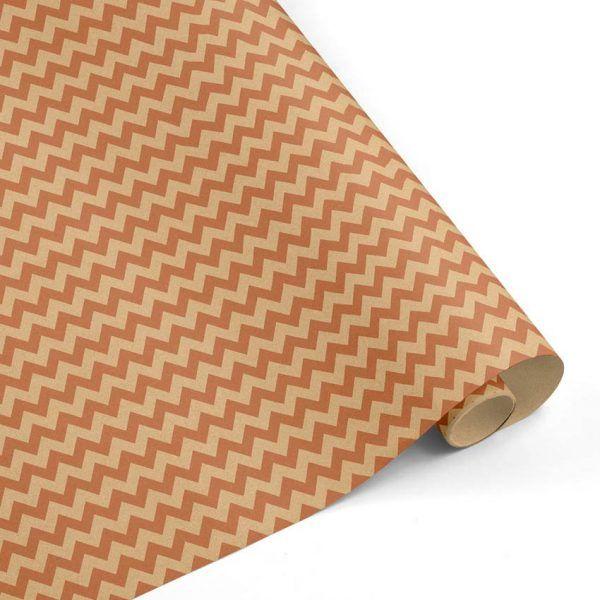 Rollo Papel de regalo KRAFT Clásico • Chevron • Cobre-Marrón ocre–mkp