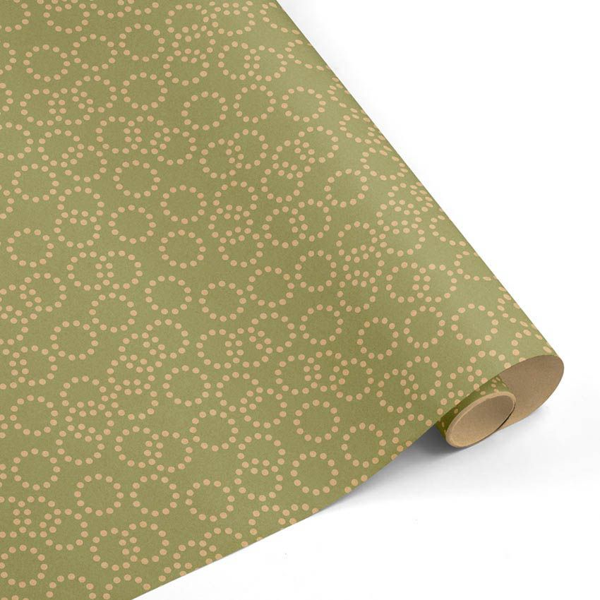 Rollo Papel de regalo KRAFT Clásico • Circulos • Verde claro-Marrón ocre–mkp