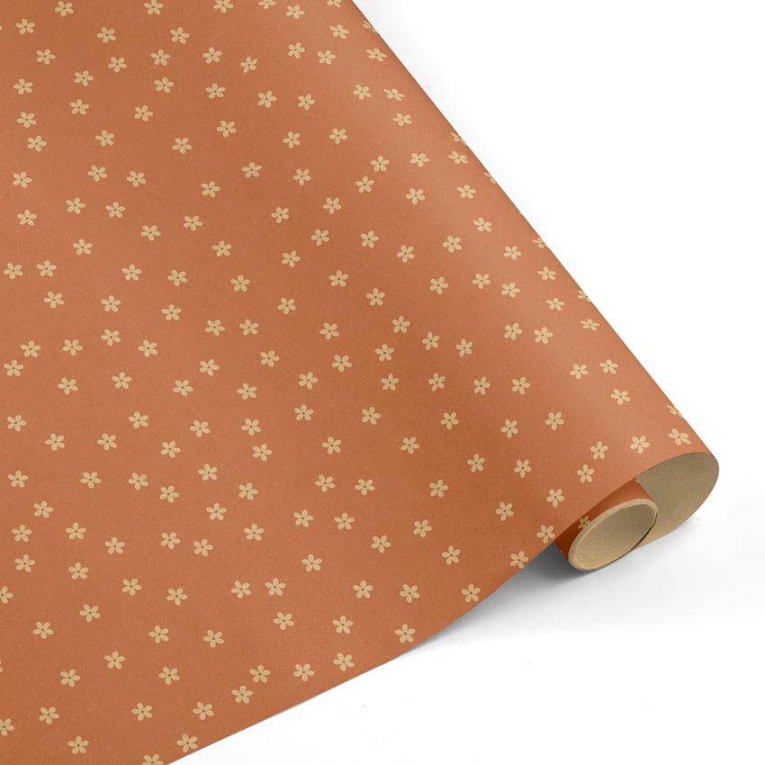 Rollo Papel de regalo KRAFT Clásico • Florecillas • Cobre-Marrón ocre–mkp